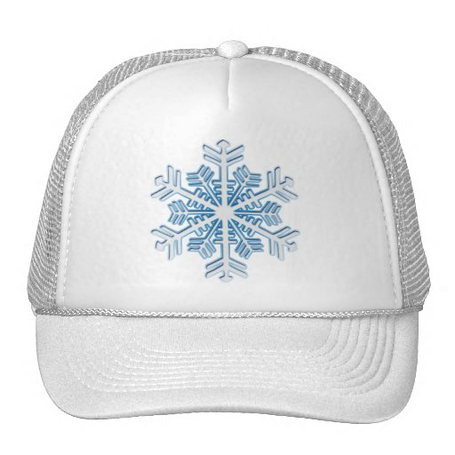 Classic Icy Blue Winter Christmas Snowflake Mesh Hat