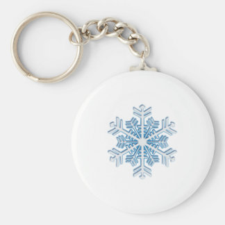 Classic Icy Blue Winter Christmas Snowflake Key Ring