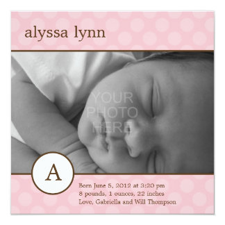 Classic Initial Baby Girl Birth Announcement