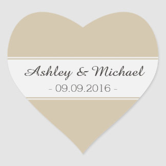 Classic Ivory Cream Save the Date Heart Sticker