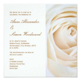 Classic Ivory White Rose Wedding Invitiation 13 Cm X 13 Cm Square Invitation Card