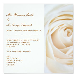 Classic Ivory White Wedding Evening Reception 13 Cm X 13 Cm Square Invitation Card