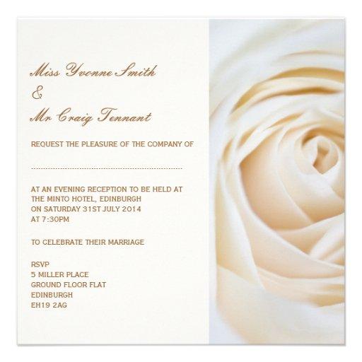 Classic Ivory White Wedding Evening Reception Personalized Invite