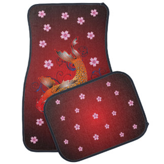 Classic Japanese Koi Fish Cherry Blossoms Car Mat