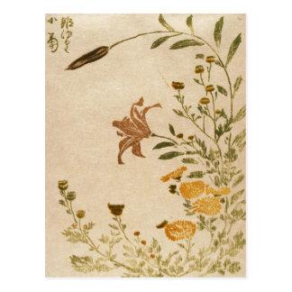 Classic japanese old vintage ukiyo-e flowers art postcard
