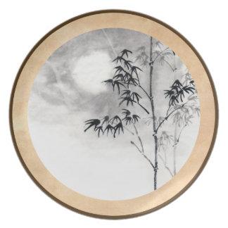 Classic  japanese sumi-e painting art bamboo moon dinner plates