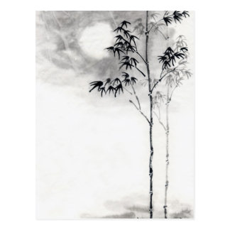Classic  japanese sumi-e painting art bamboo moon postcard