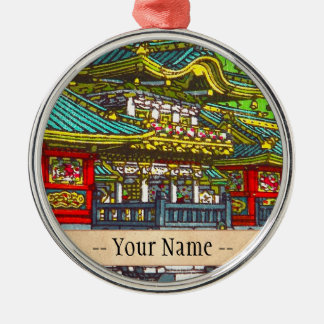 Classic japanese themed oriental scenery temple christmas ornament
