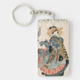 Classic japanese vintage ukiyo-e geisha and child Double-Sided rectangular acrylic key ring