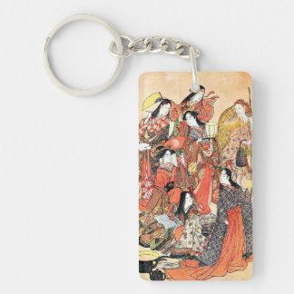 Classic japanese vintage ukiyo-e ladies old scroll Double-Sided rectangular acrylic key ring