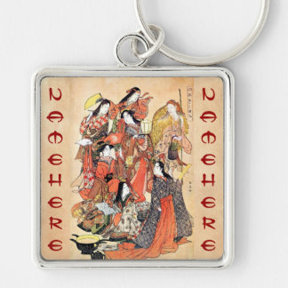 Classic japanese vintage ukiyo-e ladies old scroll Silver-Colored square key ring