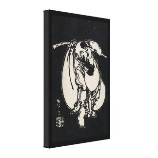 Classic japanese vintage ukiyo-e wandering poet stretched canvas print