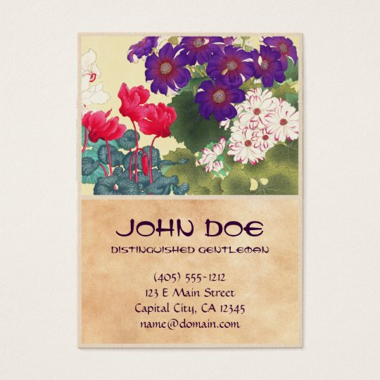 Classic japanese vintage watercolor flowers art business card