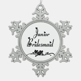 Classic Junior Bridesmaid Pewter Snowflake Decoration