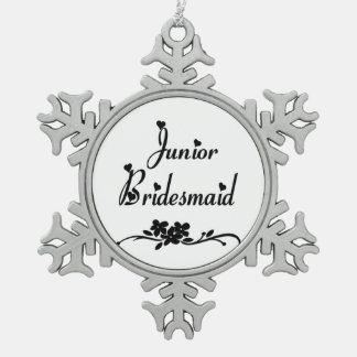 Classic Junior Bridesmaid Snowflake Pewter Christmas Ornament
