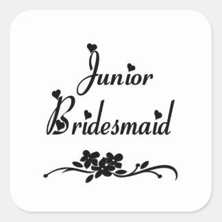Classic Junior Bridesmaid Square Sticker