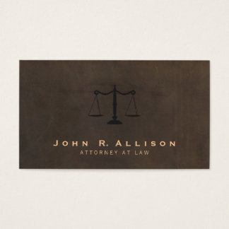 Classic Justice Scale Brown Leather Look Attorney Business Card