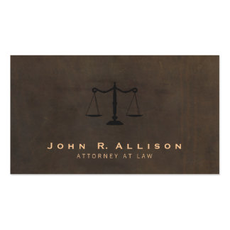 Classic Justice Scale Brown Leather Look Attorney Pack Of Standard Business Cards