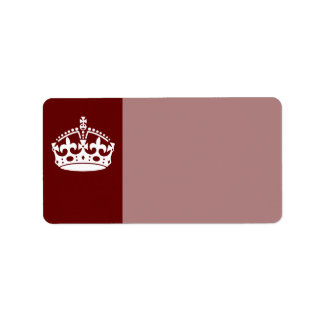 Classic Keep Calm Crown on Burgundy Red Address Label