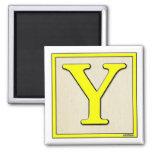 Classic Kids Letter Block Y Square Magnet