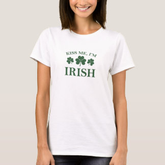 Classic Kiss Me, I'm Irish T-Shirt 3 Clover Design