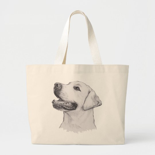 Classic Labrador Retriever Dog profile Drawing Large Tote