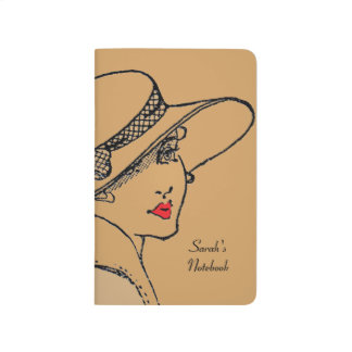 Classic lady brown notebook -personalise