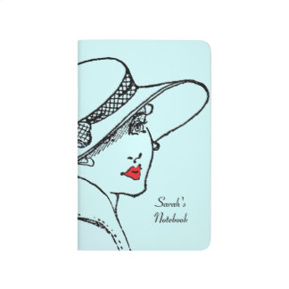 Classic lady light blue notebook -personalise journal