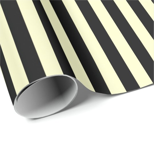 Classic Lemon Yellow Pastel Black Stripes Paris Wrapping