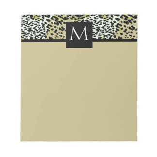 Classic Leopard Print Monogrammed Notepad