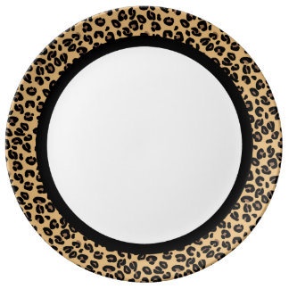 Classic Leopard with Black Band on White Plate