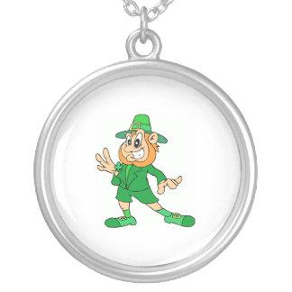 Classic Leprechaun Round Pendant Necklace