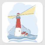 Classic Lighthouse Square Stickers
