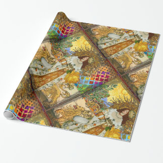 Classic Lion Woman Surreal Art Print Wrapping Paper