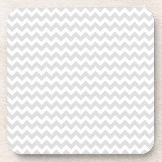 Classic Lt Grey Wht Thin 2 Chevron Zig-Zag Pattern Beverage Coaster