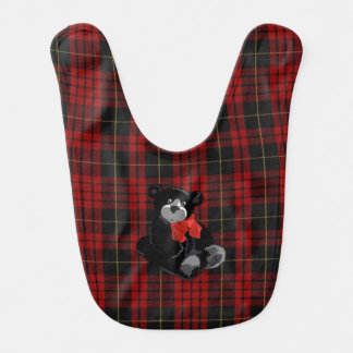 Classic MacQueen Plaid with Teddy Bear Baby Bib
