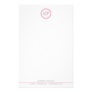 Classic Magenta Monogrammed Stationery
