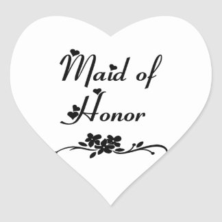 Classic Maid Of Honor Heart Sticker