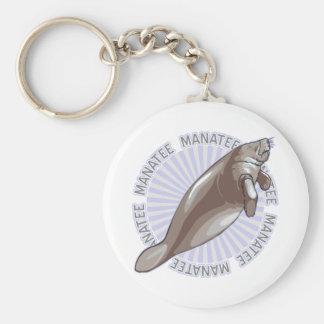 Classic Manatee Basic Round Button Key Ring