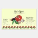Classic Marinara Sauce Rectangle Jar Labels Rectangular Sticker