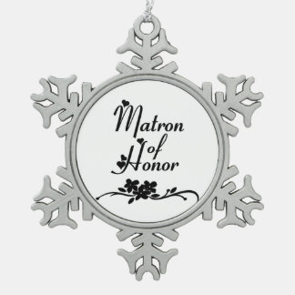 Classic Matron of Honor Pewter Snowflake Decoration