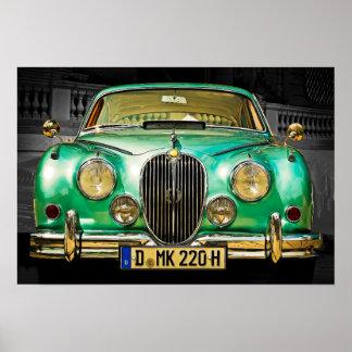 Classic Metallic Green Jaguar Sedan Poster