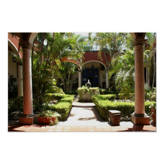 Classic Mexican Courtyard in San Blas Nayarit Poster