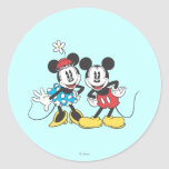 Classic Mickey Mouse & Minnie Round Sticker