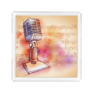 Classic Microphone, watercolor background Acrylic Tray