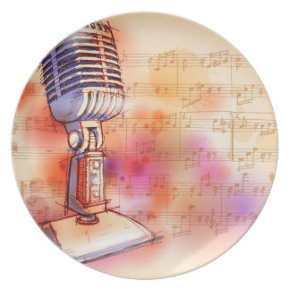 Classic Microphone, watercolor background Dinner Plates