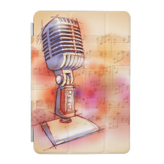 Classic Microphone, watercolor background iPad Mini Cover