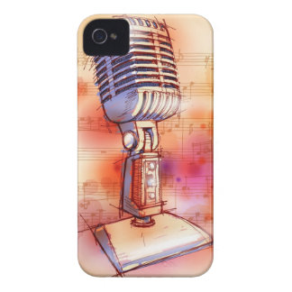 Classic Microphone, watercolor background iPhone 4 Cover