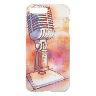 Classic Microphone, watercolor background iPhone 8 Plus/7 Plus Case