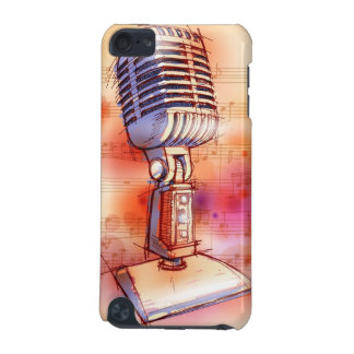 Classic Microphone, watercolor background iPod Touch 5G Cases